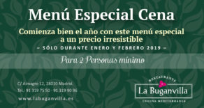 Menu 2019 especial cena en La Buganvilla